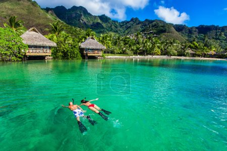 Young couple snorkeling over reef