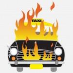 Comic Burning Car Vector Illustration...