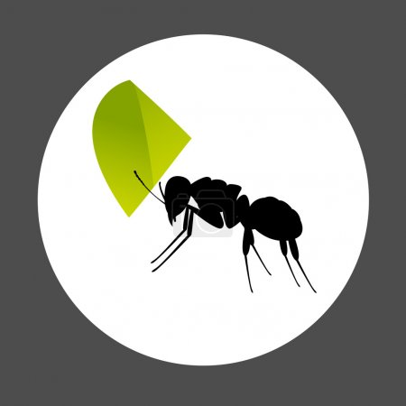 Ant Carrying a Leaf Element
