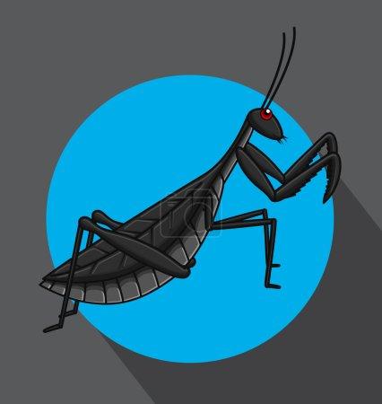 Creepy Mantid Insect Vector Illustration...