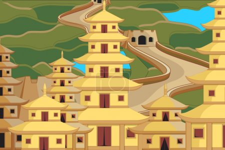 China City Buildings Vector Illustration...