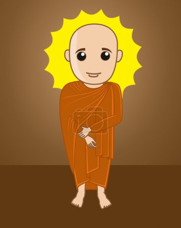Divine Tibetan Monk Illustration Vector...