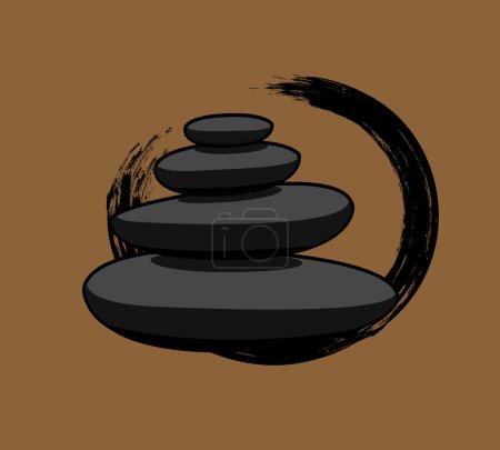 Illustration for Black Spa Zen Stones Vector Illustration - Royalty Free Image