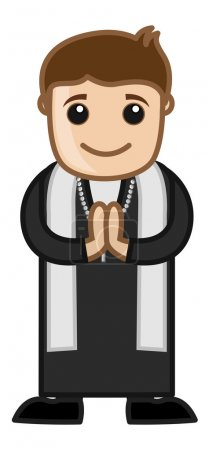 Illustration pour Illustration vectorielle de prière de caractère religieux de prêtre chrétien de bande dessinée - image libre de droit