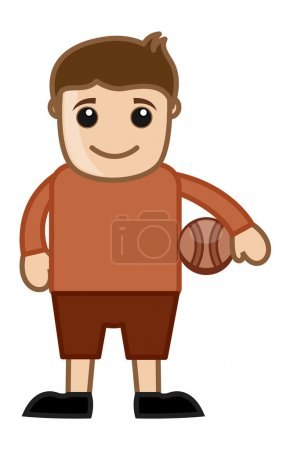 Cartoon Vector Character Volleyball Player