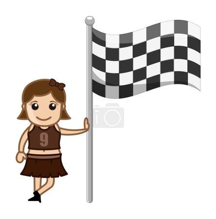 Cheerleader Girl Standing with Racing Flag