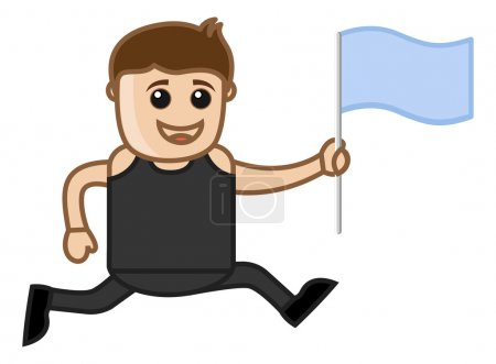 Man Running Holding a Flag in Hand - Cartoon Vector