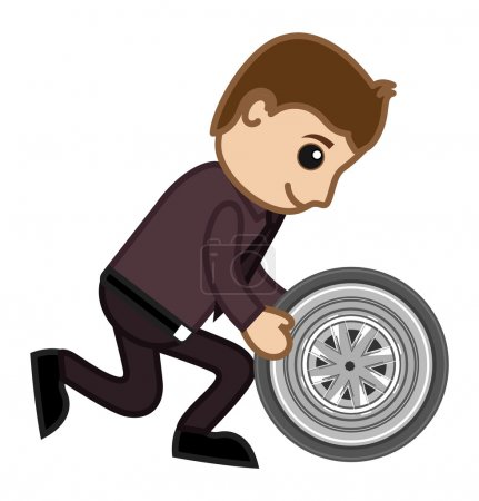 Illustration for Cartoon Man Holding a Car Wheel Vector Illustration - Royalty Free Image
