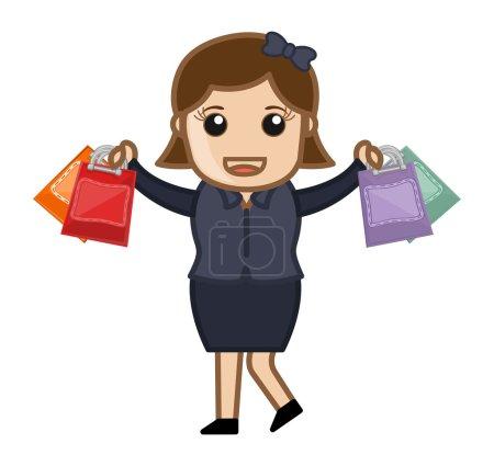 Happy Shopping - Cartoon Vector