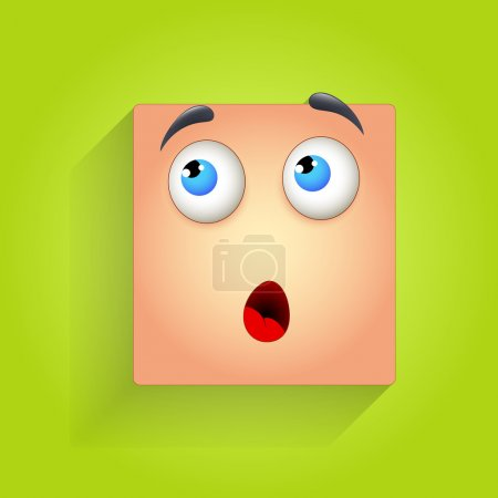 Illustration for Surprised Cartoon Smiley Face Expression Vector Illustration - Royalty Free Image