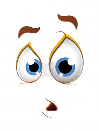 Illustration for Scared Shocked Cartoon Character Face Expression Vector Illustration - Royalty Free Image