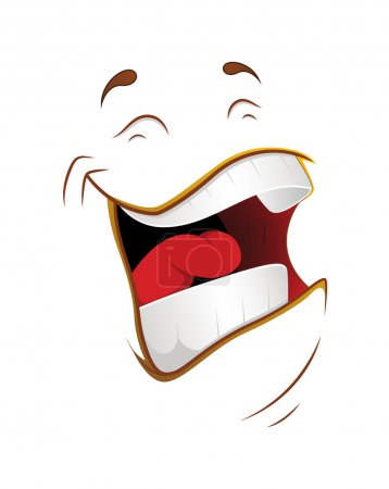 Illustration for Cartoon Laughing Character Face Expression Vector Illustration - Royalty Free Image