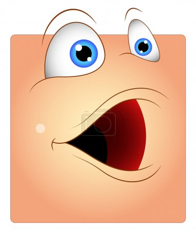 Illustration for Cartoon Funny Open Mouth Box Smiley Character Face Expression Vector Illustration - Royalty Free Image