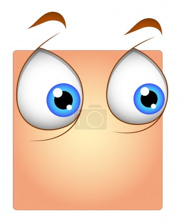 Illustration for Scared Surprised Cartoon Eyes Box Smiley Expression Vector Illustration - Royalty Free Image