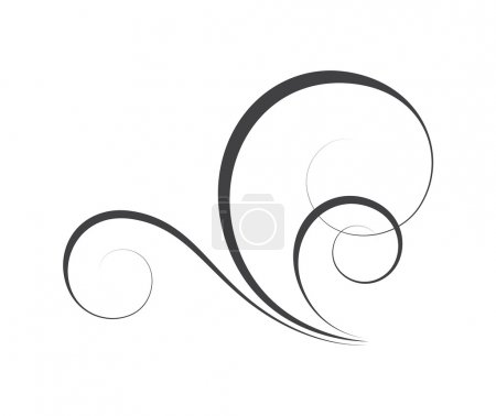 Illustration for Abstract Decorative Swirl Flourish Element Vector Graphic Design - Royalty Free Image