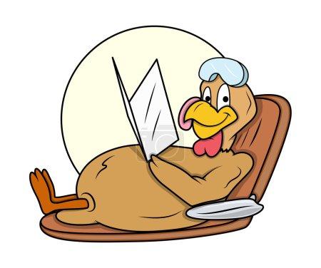 Happy Turkey Bird Relaxing in Sunlight