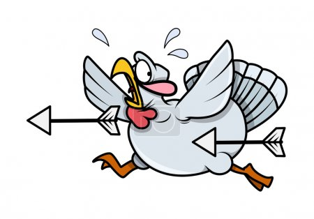 Scared Turkey Bird Running from Arrows