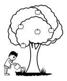Watering a Tree - Vector