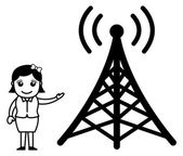 Girl Showing a TV Signal Tower