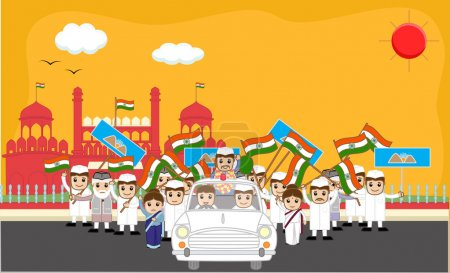 Indian Political Characters Rally in Front of Red Fort