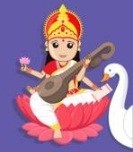 Maa Saraswati - Indian Goddess with Swan