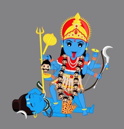 Illustration for Cartoon Hindu Goddess Kali Mata Vector Illustration - Royalty Free Image