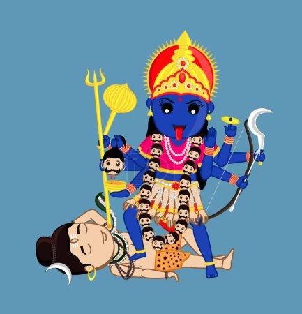 Illustration for Maa Kali Standing Over Lord Shiva - Indian Mythology Goddess Vector Illustration - Royalty Free Image