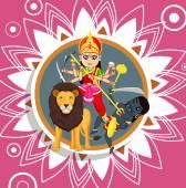 Sherawali Mata - Indian Goddess Vector Illustration