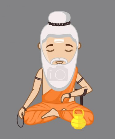 Old Maharishi Vishvamitra Vector Illustration