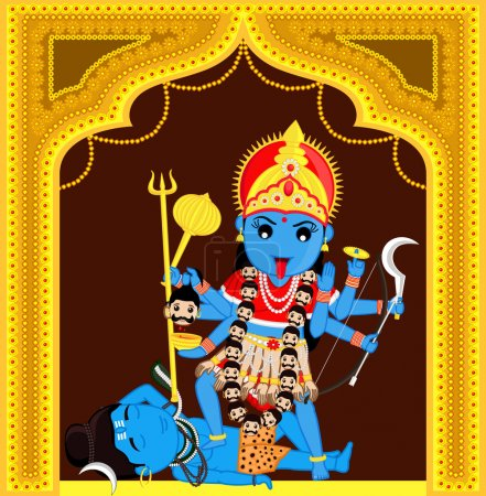Illustration for Maa Kali Standing Over Shiva Vector Illustration - Royalty Free Image