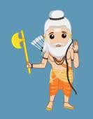Cartoon Old Saint Parshuram Character Portrait Vector Illustration