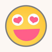 Falling in Love - Cartoon Smiley Vector Face Expression