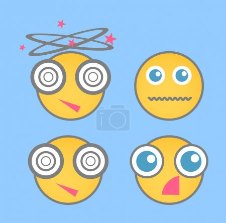 Illustration for Various Cartoon Comic Smile Characters Face Expressions Vector Illustration - Royalty Free Image