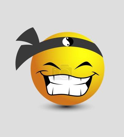 Cartoon Laughing Japanese Ninja Smiley Character F...