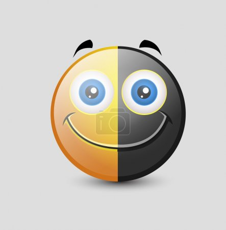 Funny Black and Yellow Colored Happy Smiley Charac...