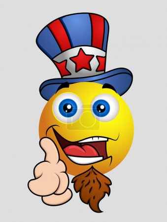 4th of July - Uncle Sam Emoji Smiley Emoticon