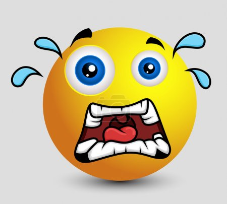 Illustration for Scared Cartoon Smiley Face Expression Vector Illustration - Royalty Free Image