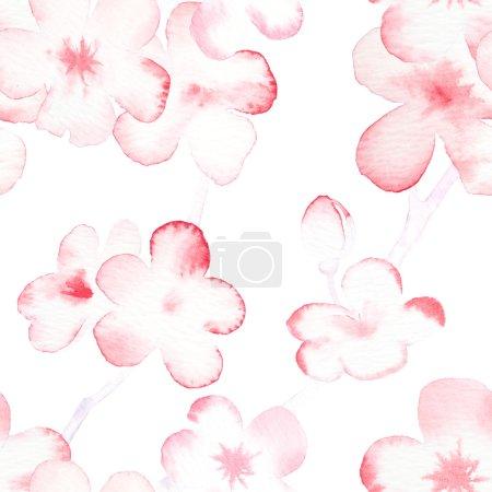 Photo pour Motif de fond de reproductible sans couture aquarelle de fleurs aux amandes - image libre de droit