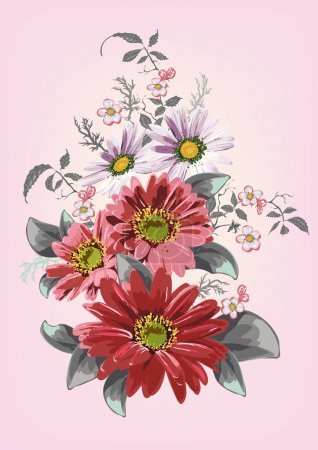 Delicate texture, flowers, daisies, dahlias, gerberas, sprigs of cherry blossoms