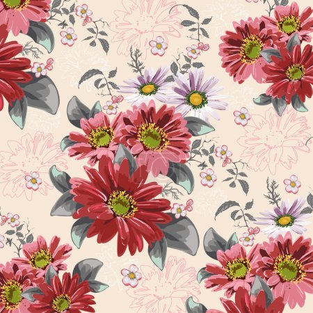 Illustration for Delicate texture, flowers, daisies, dahlias, gerberas, sprigs of cherry blossoms - Royalty Free Image