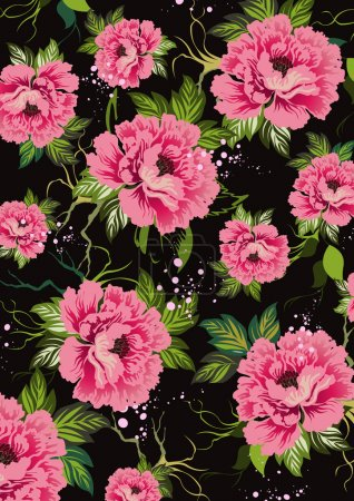 Floral texture, background, freshness, flavor, contrasting background of roses and leaves on a black