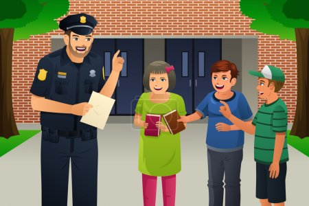 Illustration for A vector illustration of policeman talking to kids - Royalty Free Image