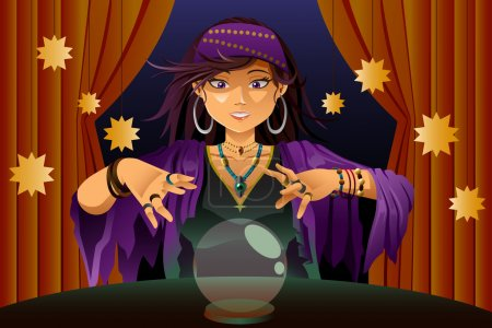 Illustration for A vector illustration of fortune teller woman reading future on magical crystal ball - Royalty Free Image
