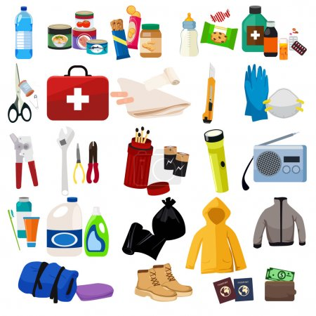 Illustration for A vector illustration of survival kit icon sets - Royalty Free Image