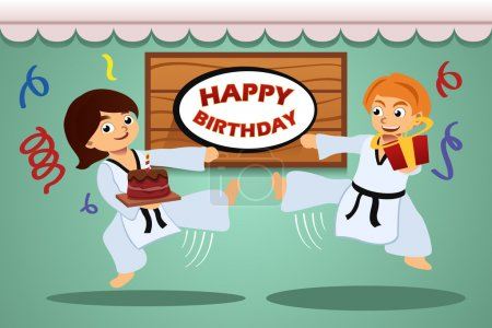 Illustration for A vector illustration of kids birthday party banner with taekwondo theme - Royalty Free Image
