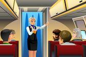 Flight Attendant doing Safety Demonstration