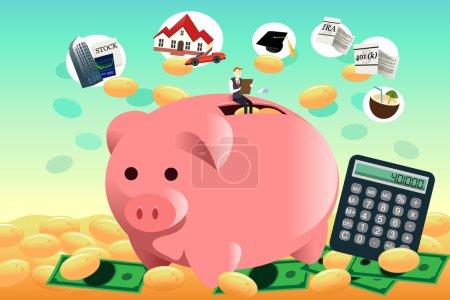 Illustration pour Illustration vectorielle du futur concept de planification financière - image libre de droit