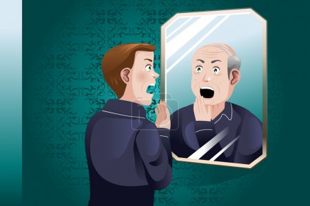 Illustration for A vector illustration of a Young Man Looking At an Older Himself in the Mirror - Royalty Free Image