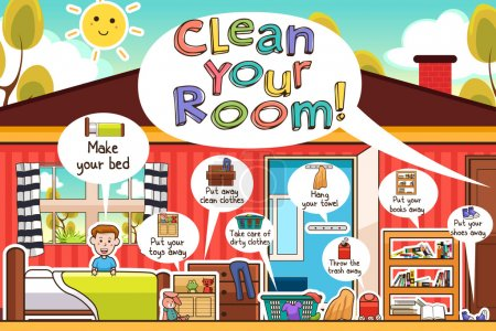 Illustration for A vector illustration of Kids Cleaning Room Chores Infographic - Royalty Free Image