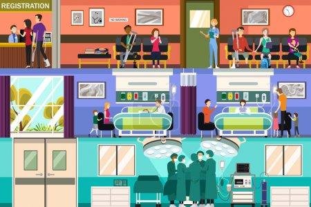 Illustration pour Illustration vectorielle des scènes à la salle d'urgence et de chirurgie de l'hôpital - image libre de droit